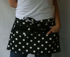 Half Apron with pockets and loop in black and by AnnaTereDesigns, $35.00