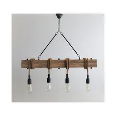 Φωτιστικό οροφής 4φωτο ξύλο/μέταλλο
