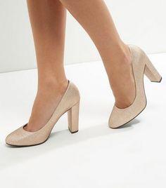 0bb5f0bc355db8 Wide Fit Gold Glitter Block Heel Court Shoes