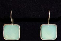 Faceted Aqua Chalcedony Earring set in silver setting. Stone is square. Square Earrings, Soho, Earring Set, I Shop, Aqua, Silver, Water, Small Home Offices, Money