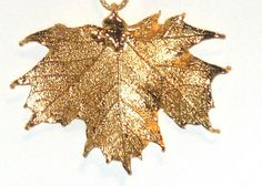 Real Sugar Maple Leaf Pendant in 14K YG Christmas In July    http://stores.ebay.com/JEWELRY-AND-GIFTS-BY-ALICE-AND-ANN