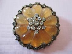 RARE Antique~ Vtg Victorian GLASS & BRASS BUTTON~ LARGE w/ Rhinestones, WOW!!
