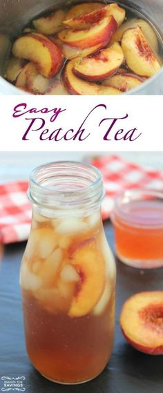 This Easy Peach Tea is the perfect drink recipe for grilling out on sunny days with friends! It's so refreshing, and you will love the chunks of fresh fruit. illdrinktothat with friends Easy Peach Tea Recipe! Healthy Drinks, Healthy Recipes, Fruit Tea Recipes, Healthy Food, Iced Tea Recipes, Dishes Recipes, Tea Party Recipes, Easy Food Recipes, Healthy Smoothie Recipes