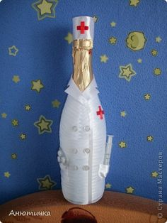 Поделка изделие День рождения Моделирование конструирование Подарок Бутылки стеклянные Ленты