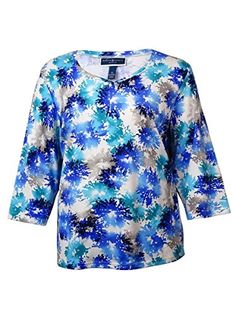 Karen Scott Womens Plus Printed 34 Sleeves Pullover Top Blue 2X ** You can get additional details at the image link.Note:It is affiliate link to Amazon.