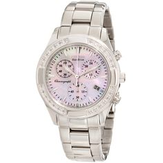 @Overstock - Keep time beautifully with this women's Eco-drive watch. Featuring a polished stainless steel case and bracelet, this timepiece has diamond accents surrounding the bezel and a gleaming mother of pearl dial to give your wrist the ultimate in style.http://www.overstock.com/Jewelry-Watches/Citizen-Womens-Regent-Chronograph-Eco-Drive-Watch/6789582/product.html?CID=214117 $412.50
