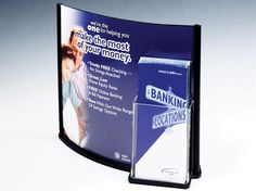 13 x 11 Acrylic Sign Holder for Table with Pocket for 4 x 9 Brochures, Convex - Black
