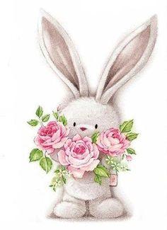conejito con rosas.
