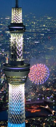 Sumida River fireworks viewed from Tokyo Skytree Japan