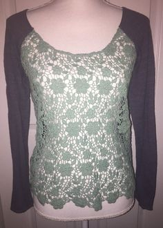 Free People Mint green lace gray top Floral Small Long Sleeve Anthropologie    eBay