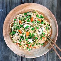 This Asian inspired veggie noodle dish really hit the spot!  Spiralized zucchinis, chayote, & cucumber with sliced carrots, celery, mushrooms, scallions, & green peas.  The dressing was a blended mix of a bit of tamarind, 1 mango, 1 small orange, ½ red pepper, ¾ lb tomatoes, 2 small medjool dates, & a tiny bit of spicy chilli pepper.