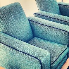 Amazing custom reupholstery job for a contemporary client in Robert Allen fabric with contrast cording.