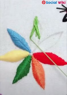 embroideryandstitching embroidery and stitching videos Basic Embroidery Stitches, Hand Work Embroidery, Cute Embroidery, Creative Embroidery, Sewing Stitches, Silk Ribbon Embroidery, Embroidery For Beginners, Crewel Embroidery, Hand Embroidery Designs