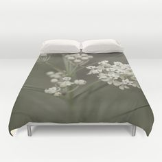 Wildflower Photography Duvet Cover - Grey and White Bedroom Decor