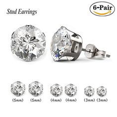 Besjewel Stud Earrings Set Hypoallergenic Surgical Stainless Steel Earings For Women, 6 pairs *** We do hope you actually enjoy our picture. (This is an affiliate link) Cross Earrings, Women's Earrings, Girls Jewelry, Jewelry Sets, Women Jewelry, Cubic Zirconia Earrings, Discount Jewelry, Stainless Steel Earrings, Jewellery Uk