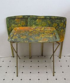 Attirant Vintage Tray Tables   Set Of Three   Wildflowers