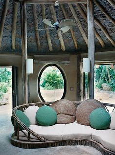 Eco Chic    formerly known as Hippie Chic. Or Beach bungalowesque.  All Natural Luxury for Thailand's Soneva Kiri Resort's Zero-Carbon-Emissions Pool Villa, built by Thai Craftsmen w/ local materials such as Casuarina Driftwood for poles & rafters. Teak leaves from Chiang Mai lining the ceiling