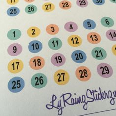 Date Dots ~ for  Passion Planner, Erin Condren, Happy Planner, Bujo, Filofax, kikkik, Kate Spade, Louis Vuitton.....etc by LyRainzStickrzNStuff on Etsy