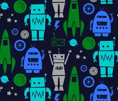 Rockets 'n Robots  fabric by leanne on Spoonflower - custom fabric - My guest bedroom shall be spaceships and rockets!
