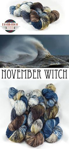 The November Witch refers to the strong winds that frequently blow across the Great Lakes in autumn. Part of the Destination Yarn Great Lakes Collection-hand-dyed, sock/fingering weight yarn for knitting & crochet.
