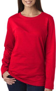 la t ladies' combed ring-spun jersey long-sleeve t-shirt - red (m)