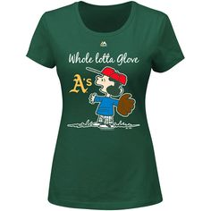 Oakland Athletics Women's Peanuts Whole Lotta Glove Tee by Majestic Athletic - MLB.com Shop