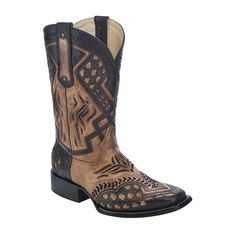 Corral Men's Antique Saddle and Black Overlay Square Toe Cowboy Boots - HeadWest Outfitters