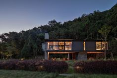 Rio House adjacent to Tijuca National Park, Brazil - e-architect Stained Concrete, Concrete Floors, Plywood Floors, Concrete Lamp, Concrete Countertops, Laminate Flooring, Brazilian Rainforest, Indoor Outdoor Fireplaces, Water Heating Systems