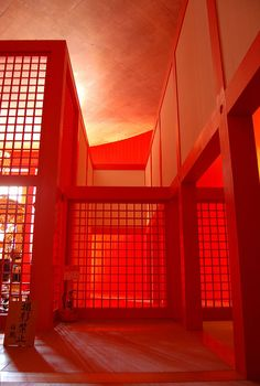 Vermillion glow, Honpuku-ji temple, Awaji, Hyogo, Japan. Work of Tadao Ando