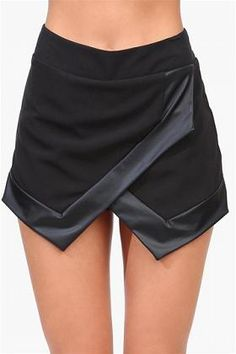 Skort with leather accents...skirt idea