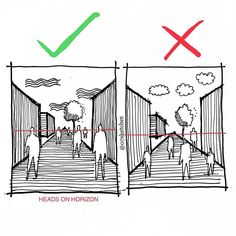 ✍🏻Perspective Architectural drawing tip. For shorter person or children the… ✍🏻Perspective Architectural drawing tip. For shorter person or children their head will not touch to Horizon. Sketchbook Architecture, Architecture Concept Drawings, Architecture Old, Minimalist Architecture, Victorian Architecture, Architecture Portfolio, Sustainable Architecture, Architecture Durable, Origami Architecture