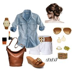 Chambray shirt with white shorts.