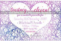 String Art Childrens Birthday Invitations