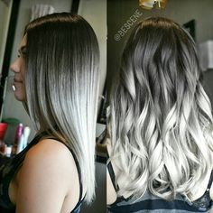 """One of my favorites! SMOKEY SILVER OMBRE For @kristinaraesaylor! I used all @Schwarzkopfusa for the color. Prelightened using #Schwarzkopf #Blondme…"""