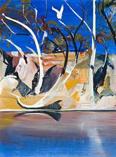 Shoalhaven Painting No. 9 by Arthur Boyd Australian Painting, Australian Artists, Landscape Artwork, Abstract Landscape, Arthur Boyd, Nature Sketch, Abstract Nature, Aboriginal Art, Graphic