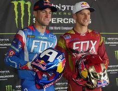 """Supercross Champion Ryan Dungey, and Ken Roczen, show their """"Civil War"""" helmets for the Vegas SX. Dungey Captain America, Roczen Iron Man"""