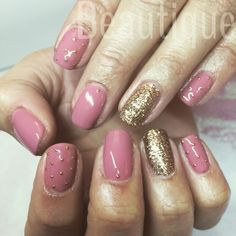 Calgel nude natural nails. Gold glitter x