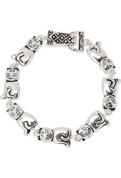 Smiling Kitty Cat Lover Polished Silver Tone Animal Bracelet Magnetic Clasp - http://www.amazon.com/Smiling-Polished-Silver-Bracelet-Magnetic/dp/B00P57DQ40