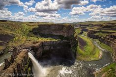 ~ Palouse Falls State Park ~ is a 105-acre camping park with a unique geology and history. The park offers a dramatic view of the state's official state waterfall and also one of its most beautiful waterfalls. Palouse Falls drops from a height of 198-feet with high volumes of water flow in spring and early summer. This picture was taken in early May, when wildflowers were surprisingly abundant. Photo by James Richman Photography