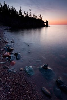 sometimes the best things are found when no when else is around. dawn tettegouche state park in minnesota on lake superior