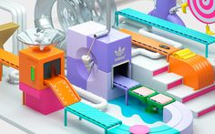 Adidas KIDS 360 is a beautiful, colorful and creative animation ad and a collaboration between Chris Labrooy and Sven Hauth. Design Isométrico, Food Graphic Design, Game Design, Layout Design, 3d Typography, Graphic Design Typography, Graphic Design Illustration, Isometric Art, Isometric Design