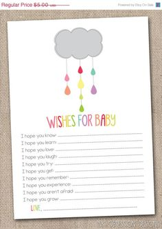 20 OFF SALE Printable Baby Wishes Card by InkObsessionDesigns, $4.00