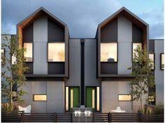 55 New Ideas For Design Geometric Architecture Facades Duplex Design, Villa Design, Facade Design, Modern House Design, Exterior Design, Modern Townhouse, Townhouse Designs, Roof Architecture, Residential Architecture