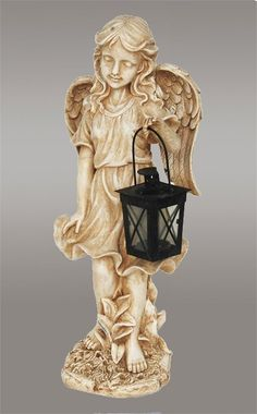 Angel Garden Patio Statue Holding Holding Tealight Candle Lantern