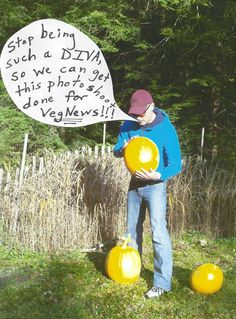 Outtake Pic #2 from my VegNews Halloween Party Tips & Menu article photo shoot ~ This pumpkin is a diva...    http://www.facebook.com/media/set/?set=a.353346638089235.80561.100909223332979=1