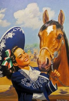 Senorita and her horse Mexican Artwork, Mexican Folk Art, Latino Art, Mexican Heritage, Mexico Art, Spanish Art, Chicano Art, Calendar Girls, Street Art