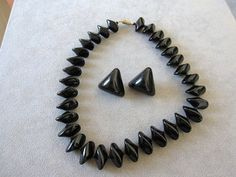 Vintage Modernist Black Glass Necklace with Chunky Post Earrings