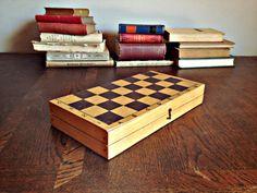 Wooden chess set, Soviet Vintage chess set, USSR chess, Old chess set, Board game, Old wooden chess by TheGarageOffice on Etsy