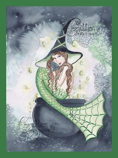 Witch Mermaid Original Watercolor Painting by camillioncreations, $24.99