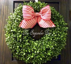 Faux Boxwood Wreath 18  Your choice of Bow  by TheSeptemberTree